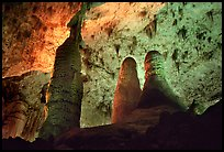Tall columns in Hall of Giants. Carlsbad Caverns National Park, New Mexico, USA. (color)