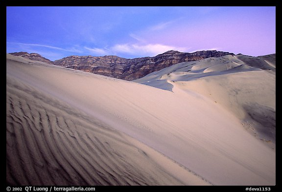 Eureka Dunes, tallest in the park, dusk. Death Valley National Park, California, USA.