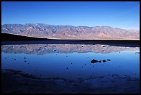 Panamint range reflection in Badwater pond, early morning. Death Valley National Park ( color)