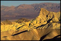 Manly beacon, Zabriskie point, sunrise. Death Valley National Park, California, USA. (color)