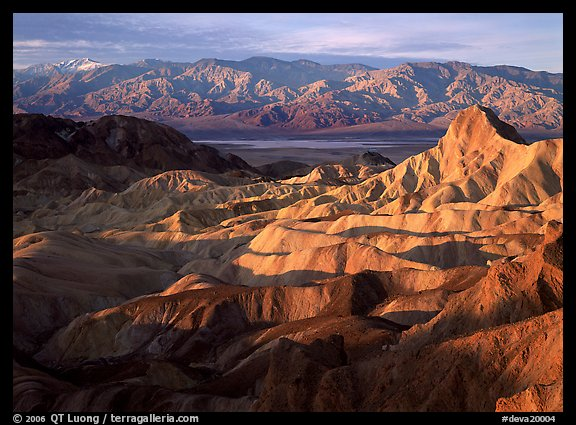 Badlands, Valley, and Telescope Peak from Zabriskie Point, winter sunrise. Death Valley National Park (color)