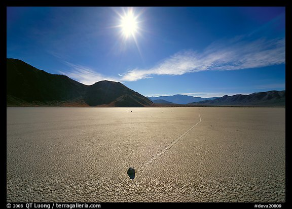 Moving rock on the Racetrack, mid-day. Death Valley National Park (color)