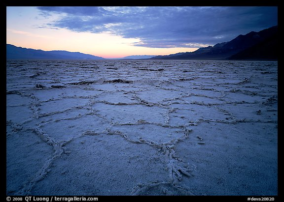Hexagonal salt tiles near Badwater, sunrise. Death Valley National Park (color)