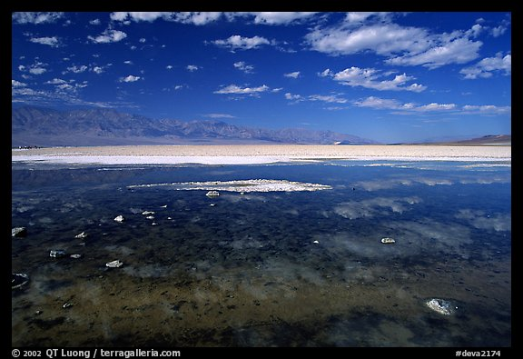 Clouds and pond, Badwater. Death Valley National Park (color)