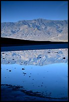 Panamint range reflected in pond at Badwater, early morning. Death Valley National Park, California, USA.