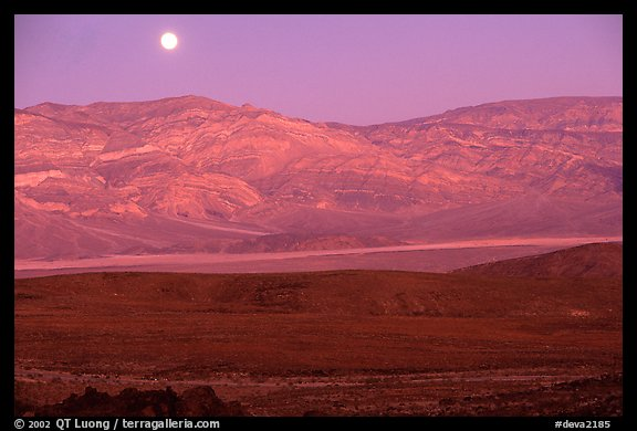 Moonrise over the Panamint range. Death Valley National Park, California, USA.
