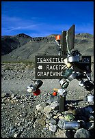Teakettle Junction sign, adorned with teakettles. Death Valley National Park, California, USA. (color)