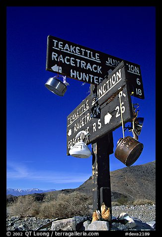 Tea kettle Junction sign, adorned with tea kettles. Death Valley National Park (color)