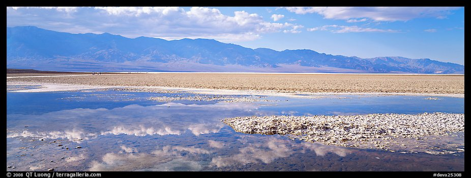 Reflections in shallow pond, Badwater. Death Valley National Park (color)