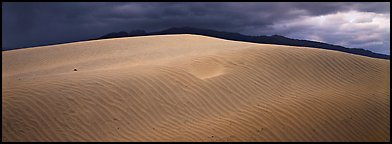Dune and mountain in stormy weather. Death Valley National Park (Panoramic color)