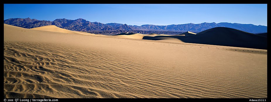 Landscape of sand dunes and mountains. Death Valley National Park (color)
