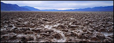 Lumpy salt surface, Devil's Golf Course. Death Valley National Park (Panoramic color)