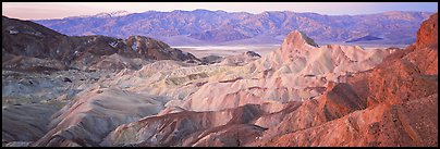 Colorful badlands from Zabriskie Point. Death Valley National Park (Panoramic color)