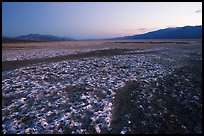 Salt formations on Valley floor, dusk. Death Valley National Park, California, USA.