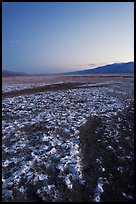 Saltine formations on Valley floor, dusk. Death Valley National Park, California, USA. (color)