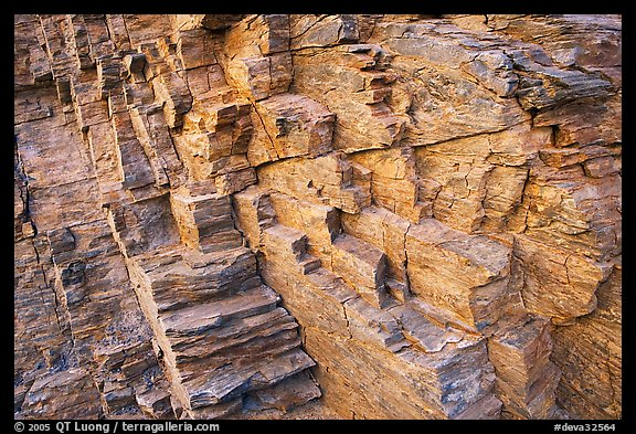 Polyedral rock patterns, Mosaic canyon. Death Valley National Park (color)