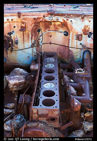Engine of rusted car near Aguereberry camp. Death Valley National Park (color)