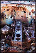 Engine of rusted car near Aguereberry camp. Death Valley National Park, California, USA. (color)