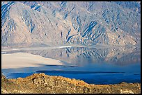 Rare seasonal lake on Death Valley floor and Black range, seen from above, late afternoon. Death Valley National Park, California, USA. (color)