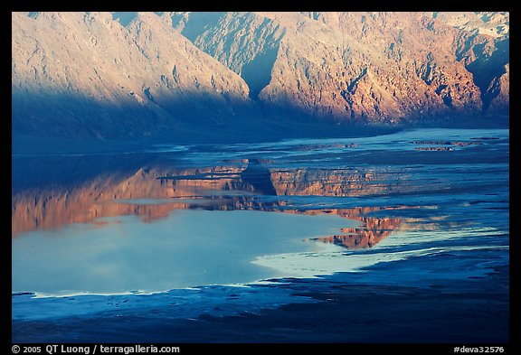 Reflections in Manly Lake at Badwater, seen from Aguereberry point, late afternoon. Death Valley National Park (color)