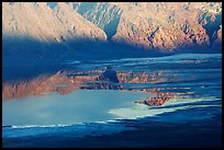 Reflections in Manly Lake at Badwater, seen from Aguereberry point, late afternoon. Death Valley National Park, California, USA. (color)