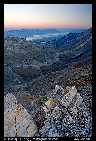 Rocks, canyon and Death Valley from Aguereberry point, sunset. Death Valley National Park, California, USA.