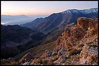 Canyon and Death Valley from Aguereberry point, sunrise. Death Valley National Park, California, USA. (color)