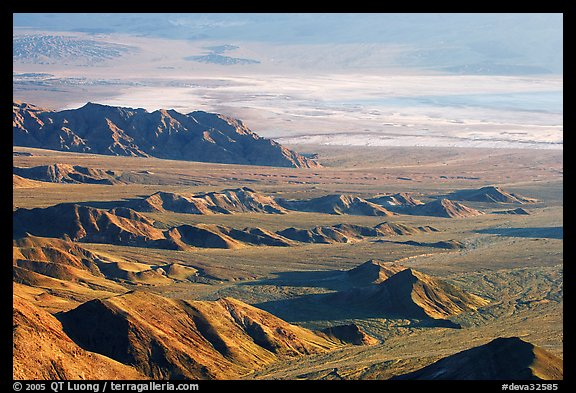 Eroded hills and salt pan from Aguereberry point, early morning. Death Valley National Park (color)