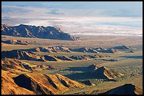 Eroded hills and salt pan from Aguereberry point, early morning. Death Valley National Park, California, USA.