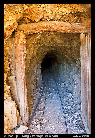 Entrance to a abandoned gallery of Cashier mine, morning. Death Valley National Park (color)