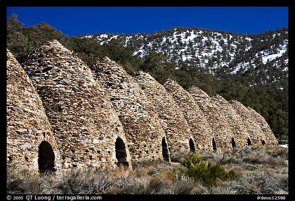 Wildrose charcoal kilns in the Panamint Range. Death Valley National Park (color)