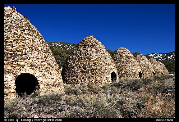 Wildrose charcoal kilns, considered to be the best surviving examples found in the western states. Death Valley National Park (color)