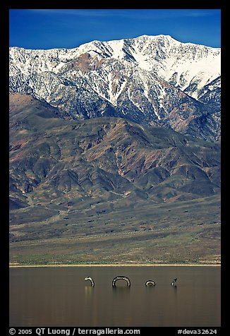 Telescope Peak, seasonal lake with dragon. Death Valley National Park (color)