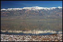 Panamint Range, salt formations, and Manly Lake with Loch Ness Monster. Death Valley National Park, California, USA.