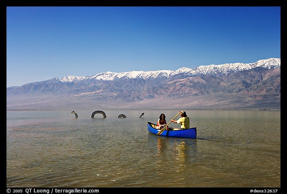 Canoe near the dragon in Manly Lake, below the Panamint Range. Death Valley National Park (color)