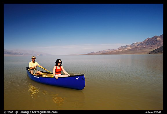 Canoeing in Death Valley after the exceptional winter 2005 rains. Death Valley National Park (color)