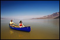 Canoeing in Death Valley after the exceptional winter 2005 rains. Death Valley National Park, California, USA. (color)
