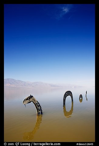 Short lived dragon art installation in rare seasonal lake. Death Valley National Park, California, USA.