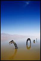 Short lived dragon art installation in rare seasonal lake. Death Valley National Park, California, USA. (color)