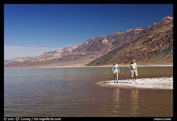 Couple on the shores of Manly Lake. Death Valley National Park (color)