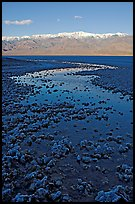 Salt pool and Panamint range, early morning. Death Valley National Park, California, USA.