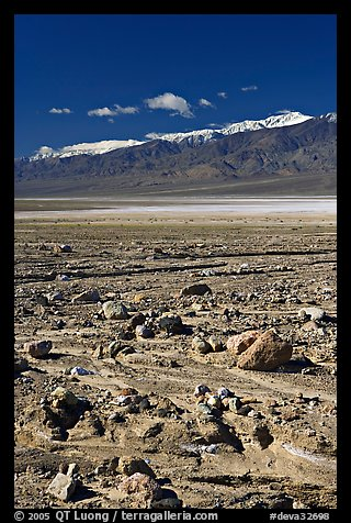 Rock field, salt flats, and Panamint Range, morning. Death Valley National Park (color)
