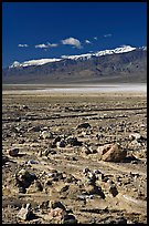 Rock field, salt flats, and Panamint Range, morning. Death Valley National Park ( color)