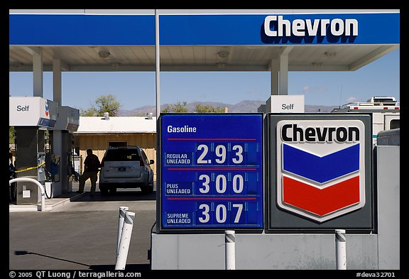 Gas priced above 3 dollars, Furnace Creek. Death Valley National Park, California, USA.
