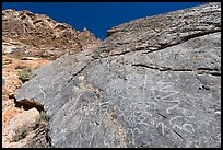 Petroglyphs, Klare Spring, Titus Canyon. Death Valley National Park, California, USA. (color)
