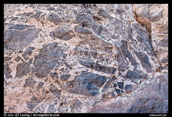 Marbled wall with patterns, Titus Canyon. Death Valley National Park (color)