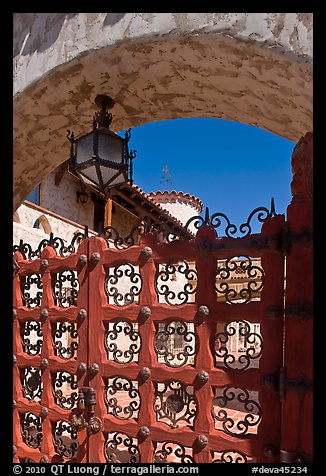 Gate, lamp, and arch, Scotty's Castle. Death Valley National Park (color)