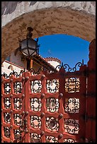 Gate, lamp, and arch, Scotty's Castle. Death Valley National Park, California, USA. (color)