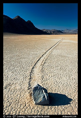 Sailing rock and travel groove on the Racetrack. Death Valley National Park (color)