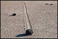 Intersecting travel grooves of sliding stones, the Racetrack. Death Valley National Park, California, USA. (color)